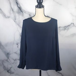 Forever 21 navy long sleeve blouse buttons in back